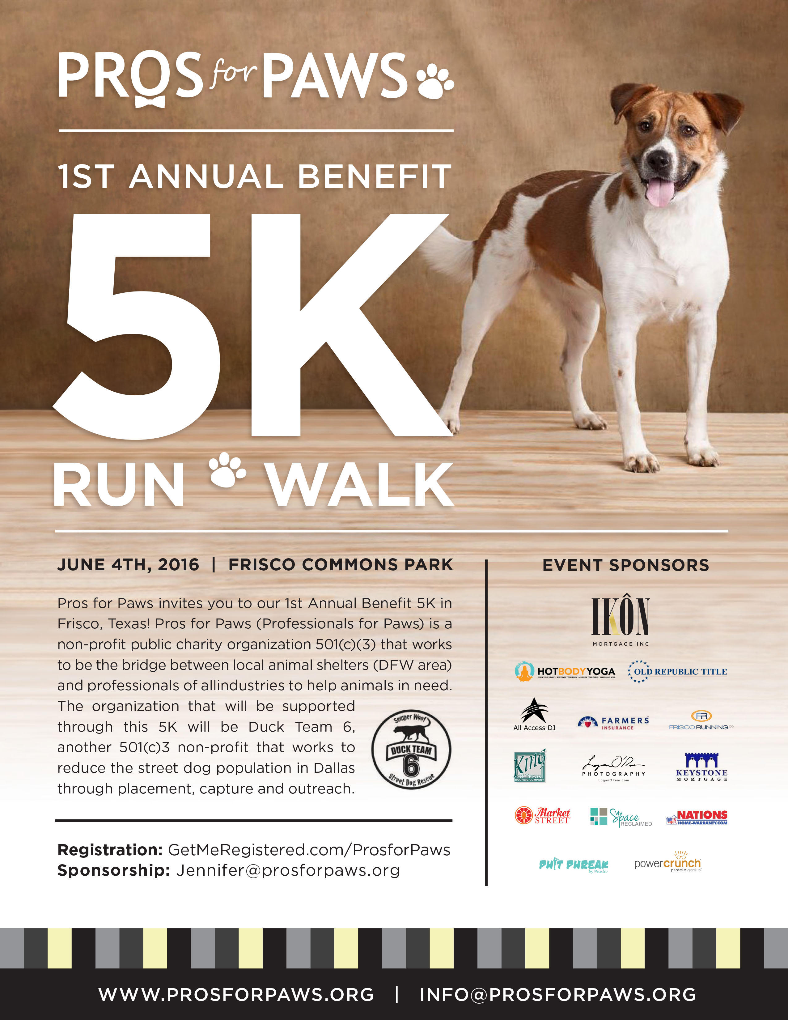 Pros for Paws 5K Flyer